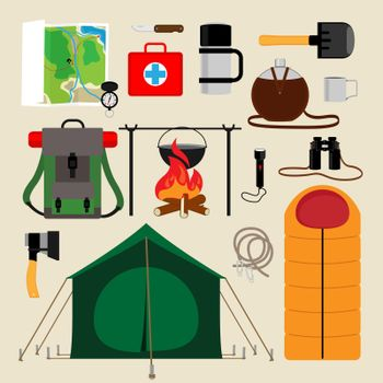 Camping equipment icons. Facilities for tourism, recreation, survival in the wild. Vector illustration
