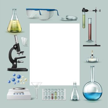 Vector set of chemical laboratory equipment test tubes, flasks with colored liquid, glasses, petri dish, alcohol burner, optical microscope, funnel, balance and place for text Isolated on background