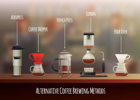 Coffee equipment gradient composition with aeropress siphon and khemeks flat vector illustration
