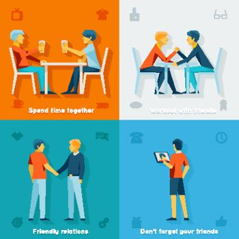 Friends and friendly company concepts. Friendship team, social community, together happy, vector illustration