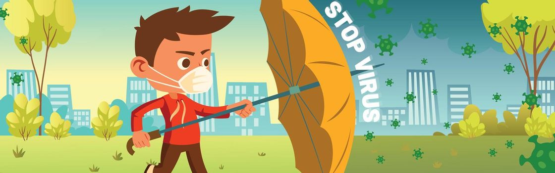 Stop virus banner. Coronavirus and infection protection, quarantine and health safety concept. Vector cartoon poster with boy in mask with umbrella protects from covid 19 spread on city background