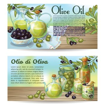 Two horizontal concepts set with olive oil editable text on drawn background with olives on wood vector illustration
