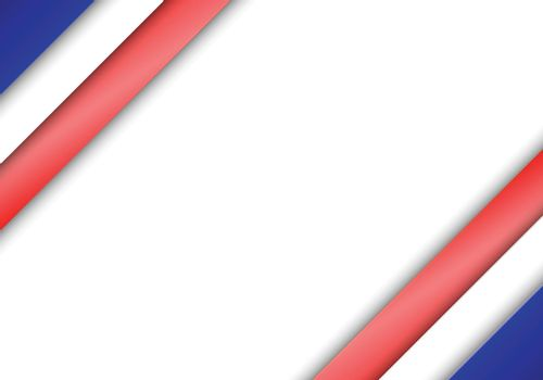 Background with United States of America colors in the corners. Red white and blue 3D stripes. Vector illustration.