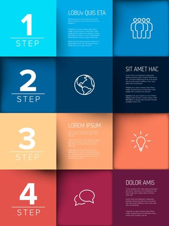Multipurpose mosaic four steps infographic made from colorful content squares with icons numbers and texts