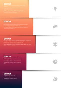 Five graph elements infographic template - each column element contains icon, title and description - light  gradient vertical version