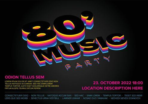 Concert music disco party poster template with retro music from 1980 year and retro dance style - dark rainbow version