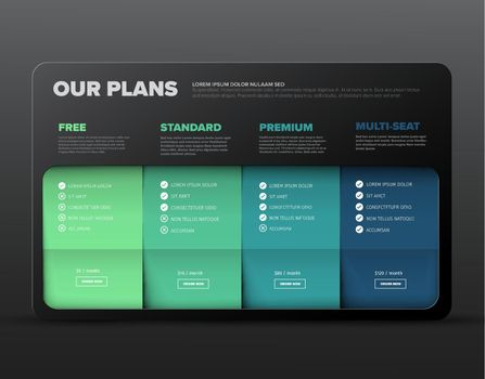 Product / service price comparison cards with description and prices - dark green color