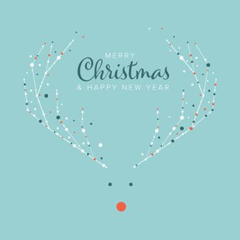 Minimalist Christmas flyer  card temlate with white snowflakes on a reindeer Rudolph with red nose and light blue background