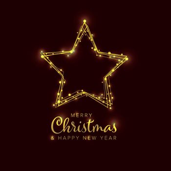 Minimalist Christmas flyer  card temlate with golden snowflakes on a star shape and dark background