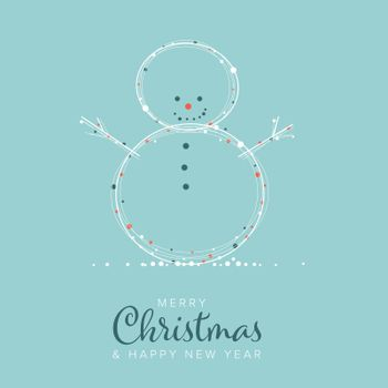 Minimalist Christmas flyer  card temlate with white snowflakes on a snowman shape and light blue background