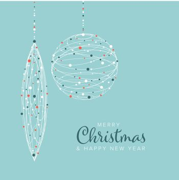 Minimalist Christmas flyer  card temlate with white snowflakes on a christmas decorations shapes and light blue background