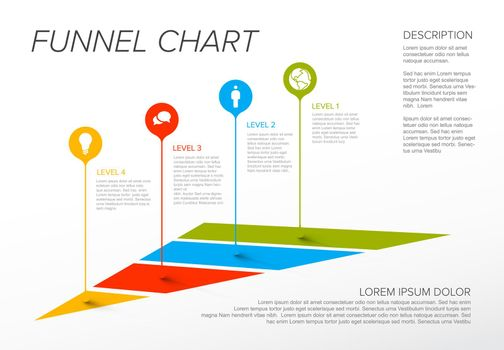 Vector Infographic 4 level layers funnel template with droplet pointers, icons, descriptions - reverse pyramid template