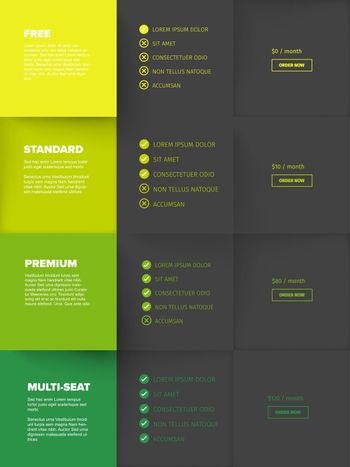 Products service feature compare mosaic list table template with various options, description, features and prices - four green color version with dark blocks
