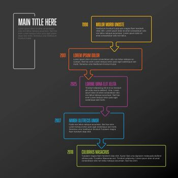 Vector vertical infographic timeline template with thin line color bubbles - dark version