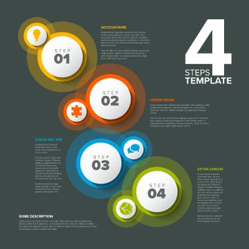 Vector progress steps template with descriptions, icons and circles on dark gray background