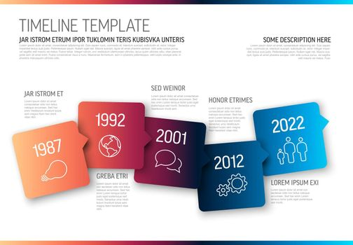 Vector Infographic horizontal timeline template made from arrow square bubbles and icons - color gradient version with light background