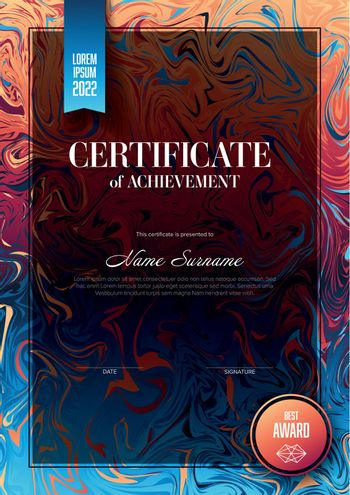 Modern art certificate of achievement template with place for your content - vertical fresh colors version