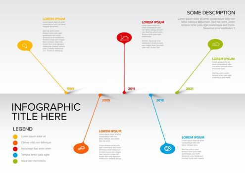 Colorful vector infographic timeline report template with  droplet bubbles pins - light version