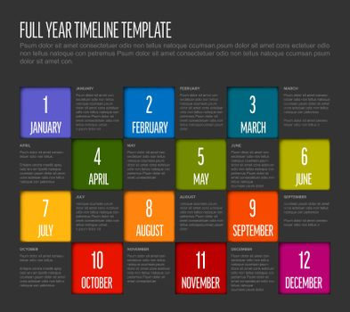 Full year timeline template with all months in square mosaic - dark version