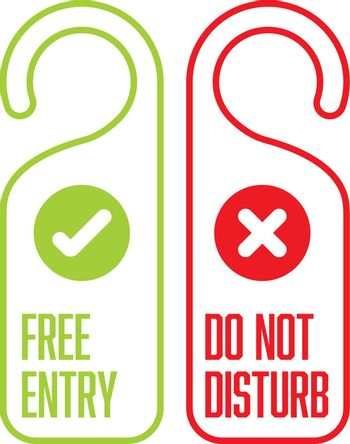 Door tag template - front and back layout - red do not disturb and green free entry white with color border
