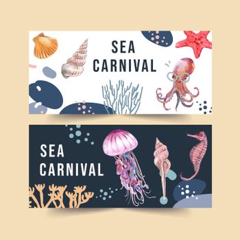 Banner design with sea animal concept, watercolor with elements vector illustration template.