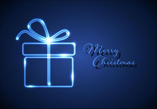 Christmas card with blue neon tube present gift box and some lights - blue version