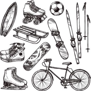 Winter and summer sport equipment set with hand drawn soccer ball bicycle and roller skates isolated vector illustration