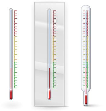 Thermometer with scale divisions isolated on white. Vector Illustration. EPS10 opacity