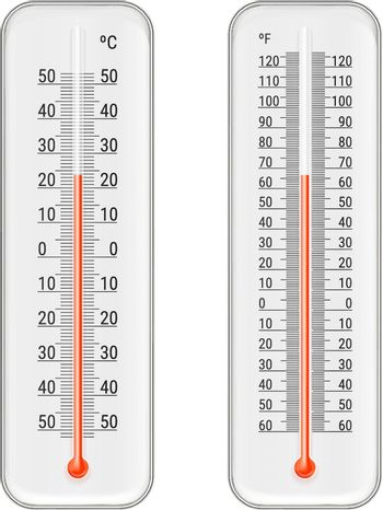 Set of realistic white meteorology thermometers with celsius and fahrenheit scales, red mercurial indicator isolated vector illustration