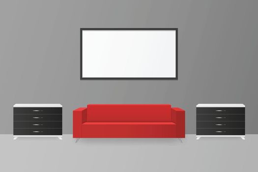 Modern 3D interior with red sofa and black white chest of drawers. Blank blackboard on gray wall.