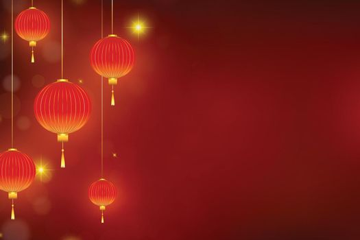 Lighting red hanging lanterns on dark background. Chinese traditional design.