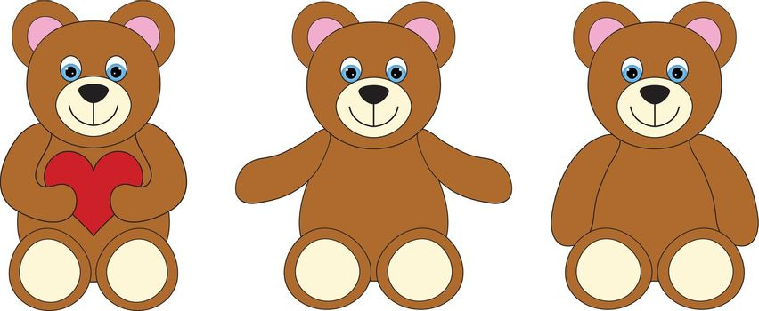 Smiling teddy bear set on a white background, embrace with open arms and hearts in hand.