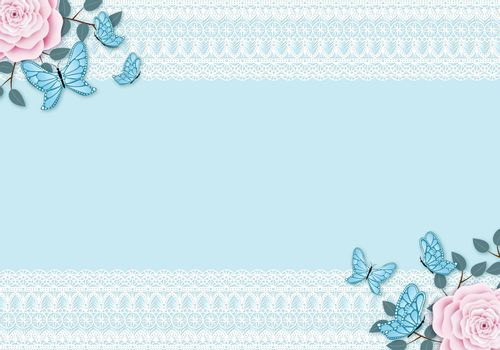 Light blue vintage background with white lace frame. Pastel colored pink rose with leafy branches and flying butterfly decoration. Copy space for the text.