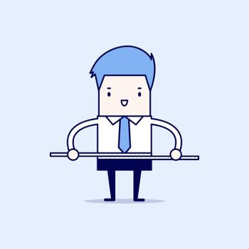 Businessman measuring his waist with measure tape. Cartoon character thin line style vector.