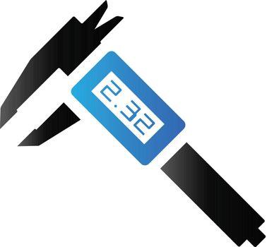 Digital caliper icon in duo tone color. Instrument equipment measurement