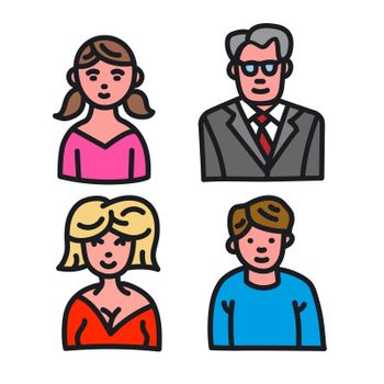 illustration of the family character avatars colorful icons on the white background