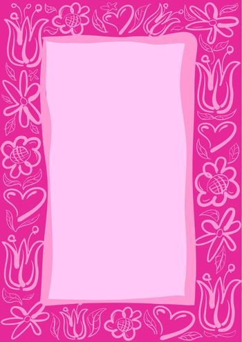 illustration of the pink floral decorative frame and background for congratulations