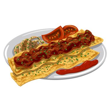Illustration of the traditional hot turkish adana kebab with pita, tomato sauce and onion on the plate