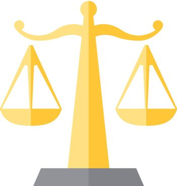 Justice scale icon in flat color style. Law litigation measurement balance