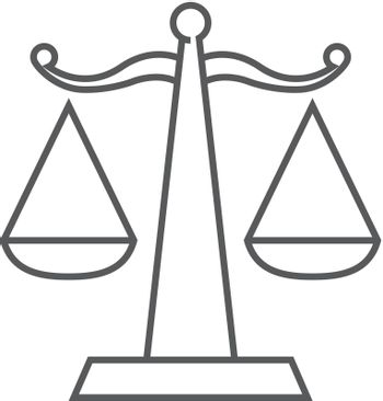 Justice scale icon in thin outline style. Law litigation measurement balance