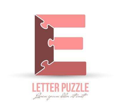 Letter E is made up of puzzles. Vector illustration for logo, brand logo, sticker or scrapbooking, for education. Simple style.
