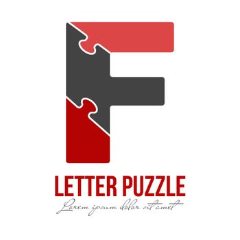 Letter F is made up of puzzles. Vector illustration for logo, brand logo, sticker or scrapbooking, for education. Simple style.