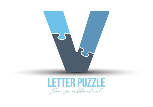 Letter V is made up of puzzles. Vector illustration for logo, brand logo, sticker or scrapbooking, for education. Simple style.
