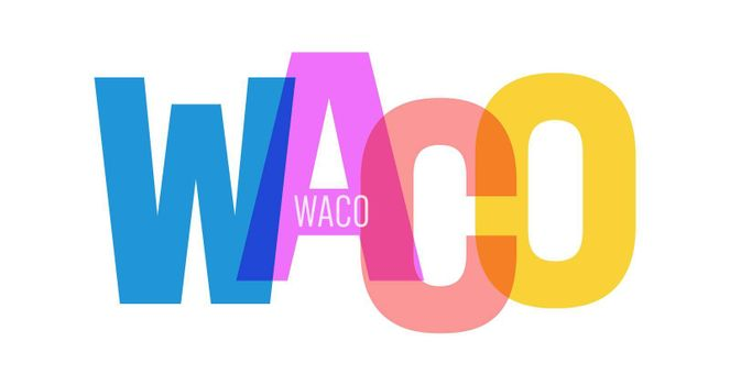 WACO. The name of the city on a white background. Vector design template for poster, postcard, banner. Vector illustration.
