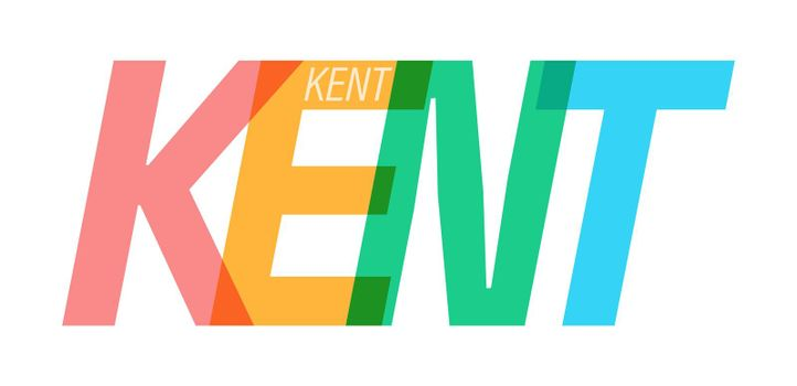 KENT. The name of the city on a white background. Vector design template for poster, postcard, banner. Vector illustration.