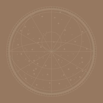 Line constellation map vector background in brown