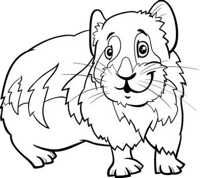 Black and white cartoon illustration of funny pika comic animal character coloring book page