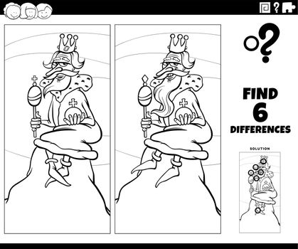 Black and white cartoon illustration of finding the differences between pictures educational game with king of the hill saying or proverb coloring book page