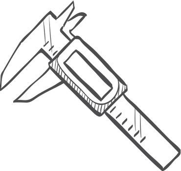 Digital caliper icon in doodle sketch lines. Instrument equipment measurement accuracy millimeter