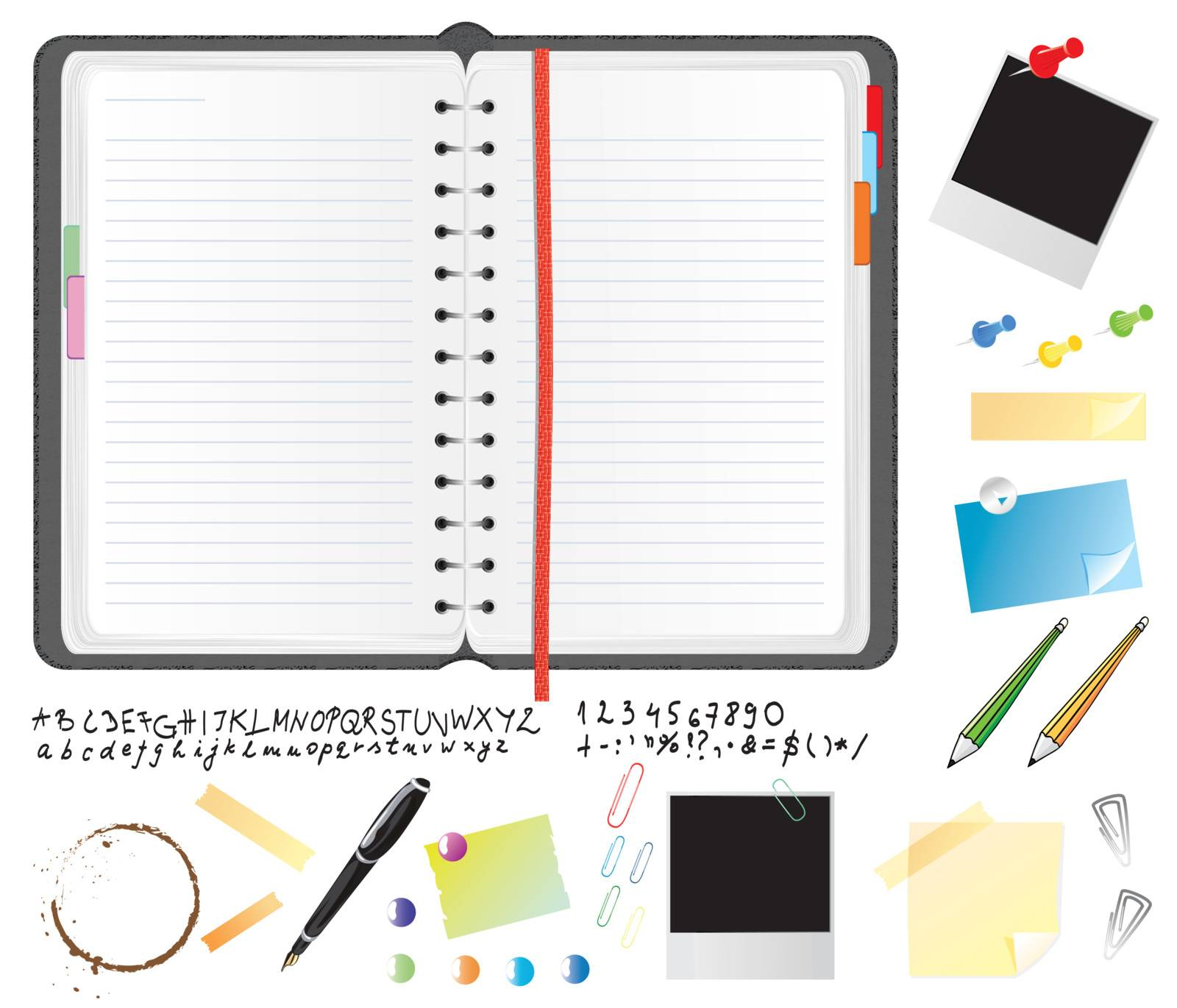 Realistic daily planner with font and stationery items, vector illustration